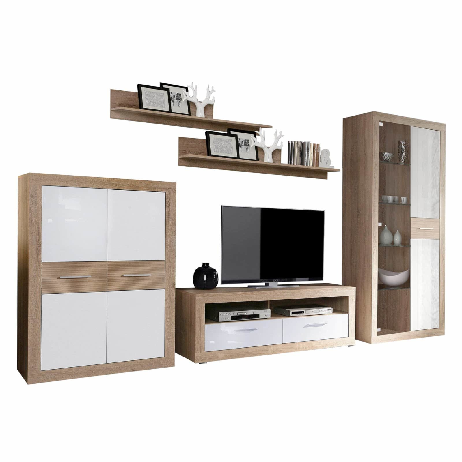wohnwand long beach sonoma eiche wei 347 cm. Black Bedroom Furniture Sets. Home Design Ideas