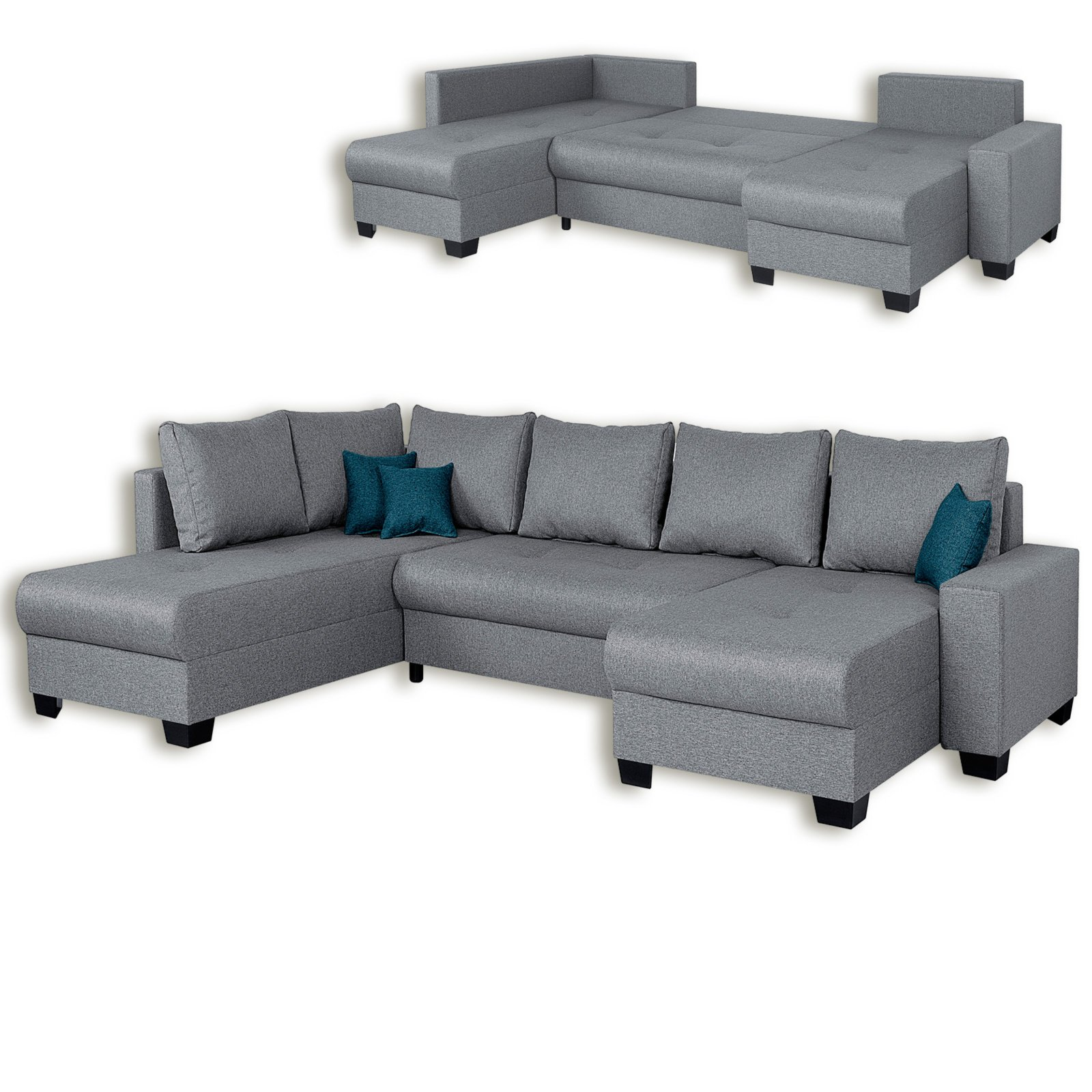 wohnlandschaft grau webstoff liegefunktion wohnlandschaften u form sofas couches. Black Bedroom Furniture Sets. Home Design Ideas