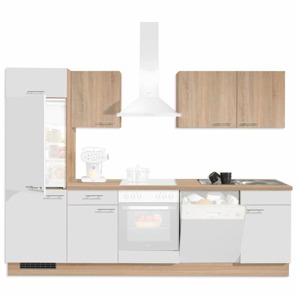 k chenblock pn80 wei sonoma eiche 280 cm k chenzeilen ohne e ger te k chenzeilen. Black Bedroom Furniture Sets. Home Design Ideas