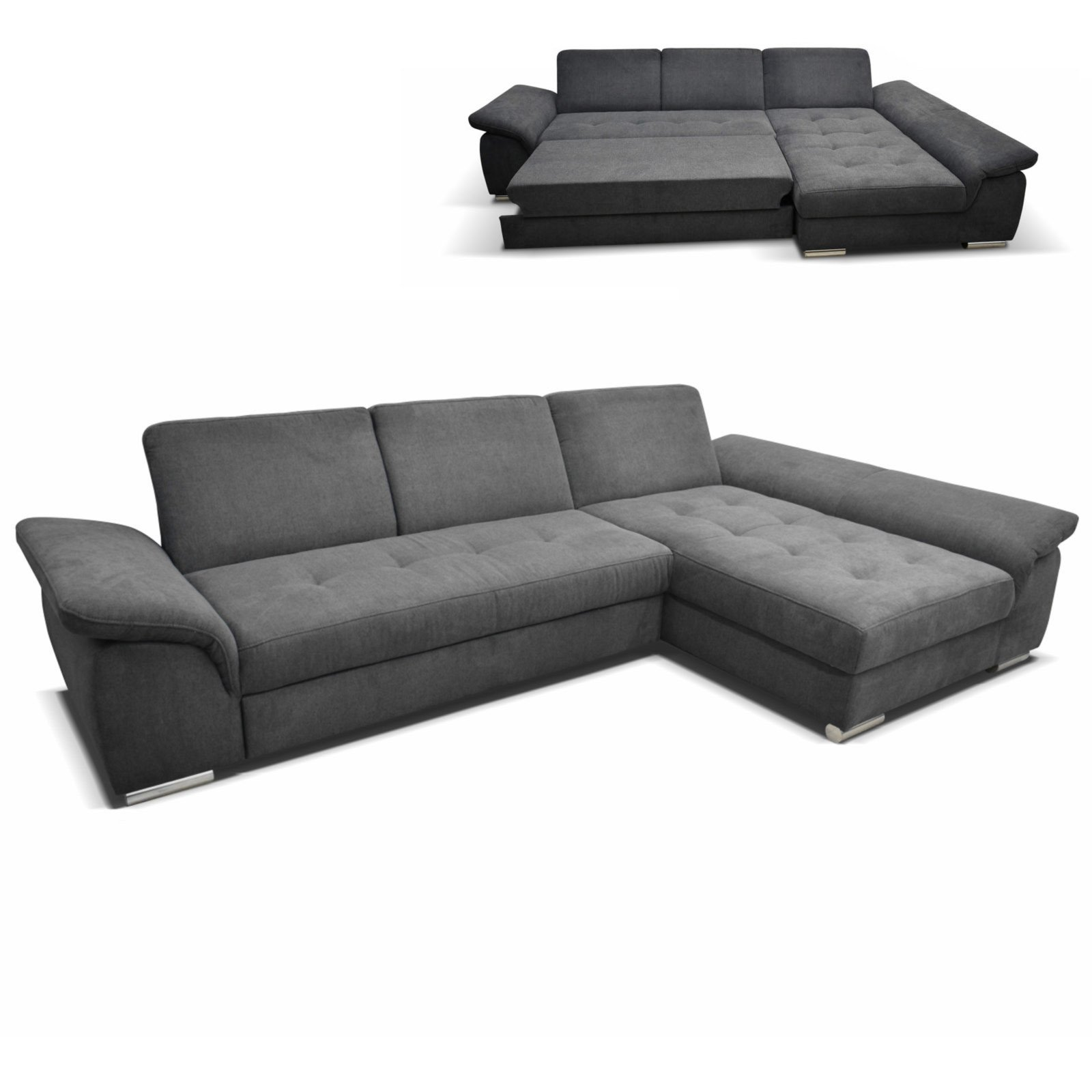ecksofa graphit recamiere rechts mit liegefunktion ecksofas l form sofas couches. Black Bedroom Furniture Sets. Home Design Ideas