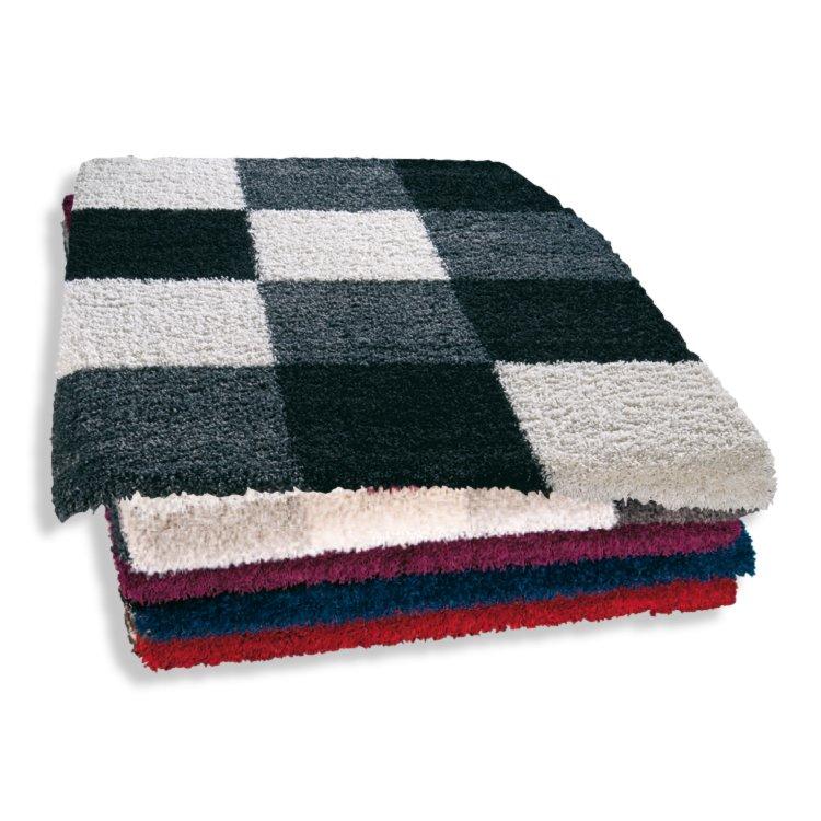 hochflor teppich shaggy plus wei schwarz 80x150 cm. Black Bedroom Furniture Sets. Home Design Ideas