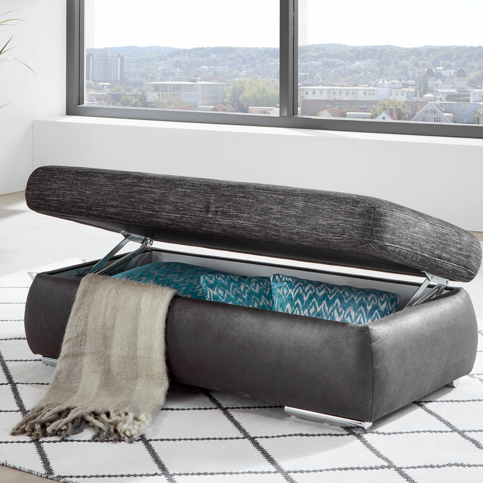 XXL-Hocker - anthrazit-schwarz - 129x64 cm