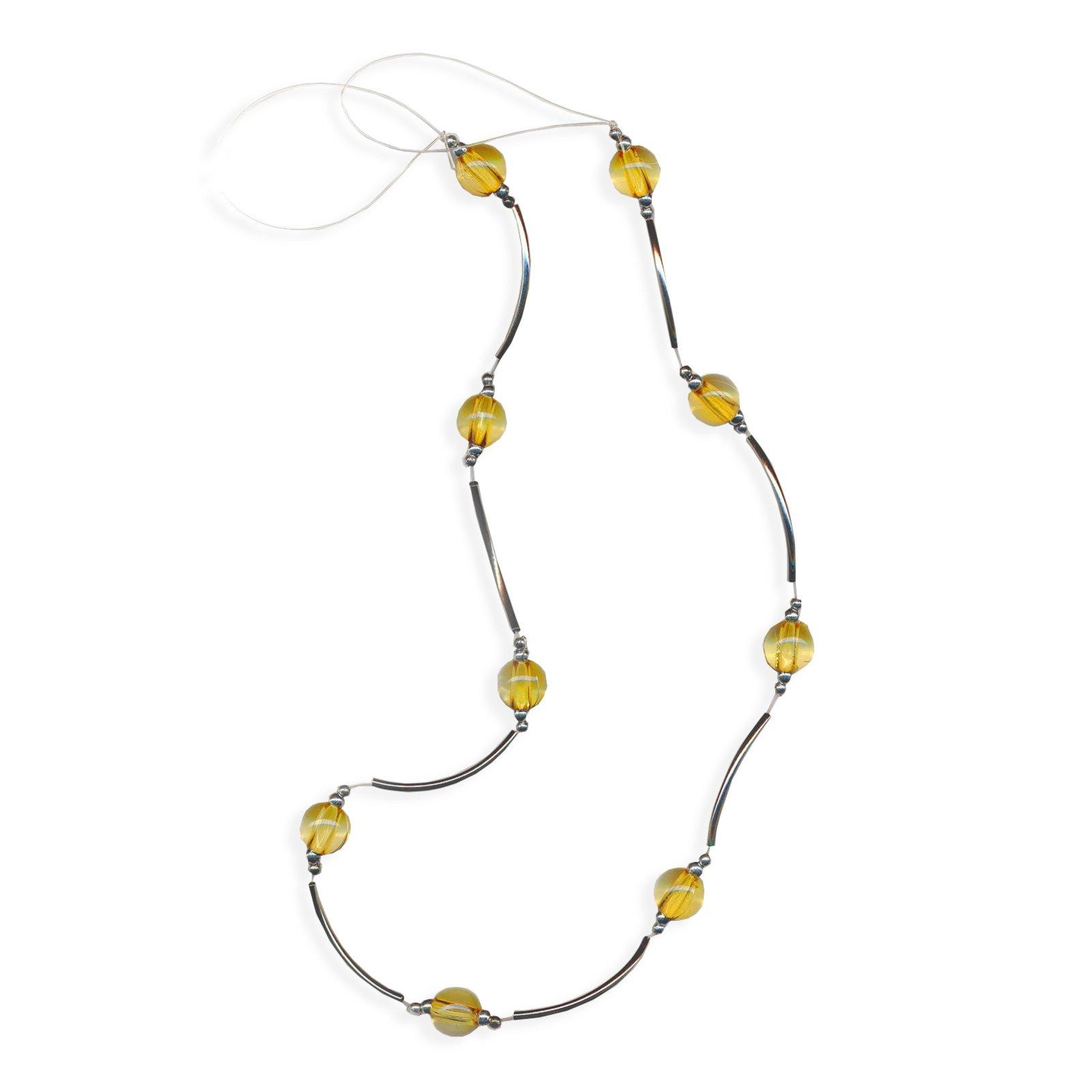 raffhalter mit perlen silber gelb 65 cm raffhalter gardinen vorh nge deko haushalt. Black Bedroom Furniture Sets. Home Design Ideas