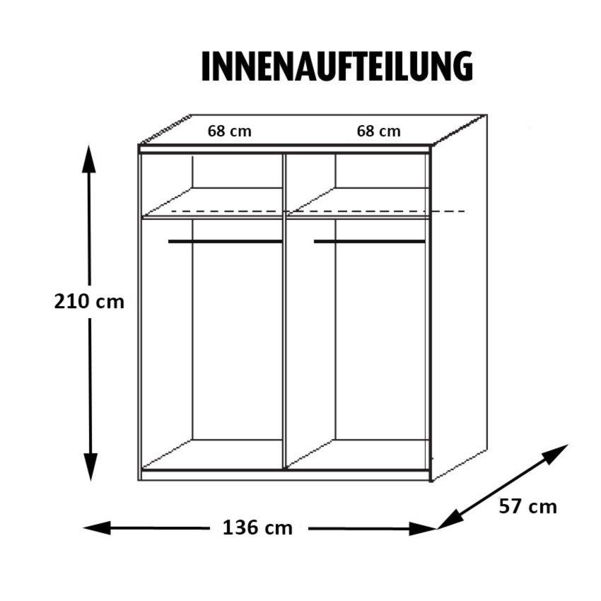Schwebetürenschrank QUADRA - Alpinweiß-Glas weiß - 136 cm ...