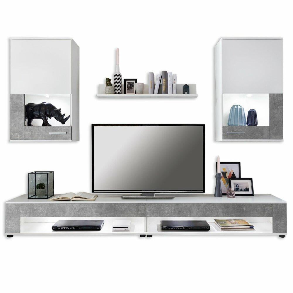 wohnwand square wei betonoptik 5 teilig wohnw nde m bel roller m belhaus. Black Bedroom Furniture Sets. Home Design Ideas