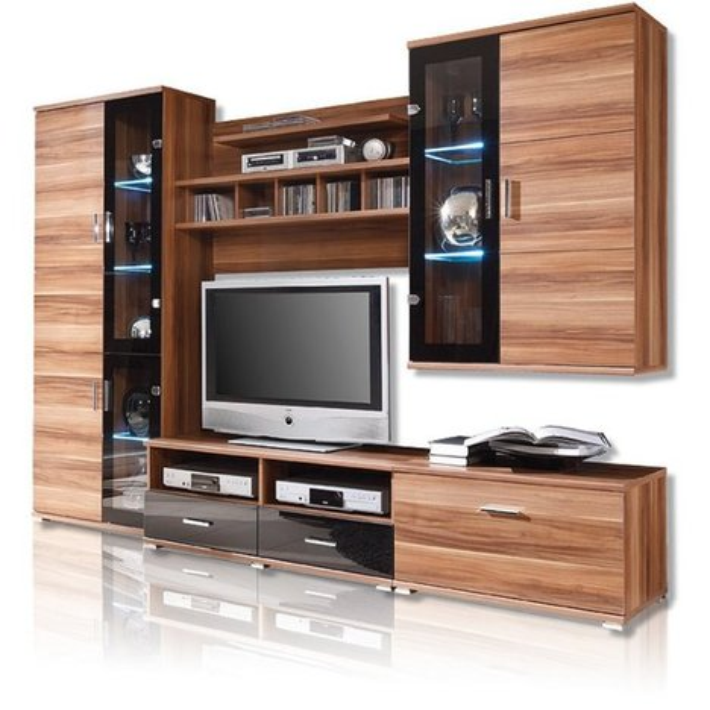 wohnwand libero 3 walnuss schwarz led beleuchtung wohnw nde wohnw nde m bel. Black Bedroom Furniture Sets. Home Design Ideas