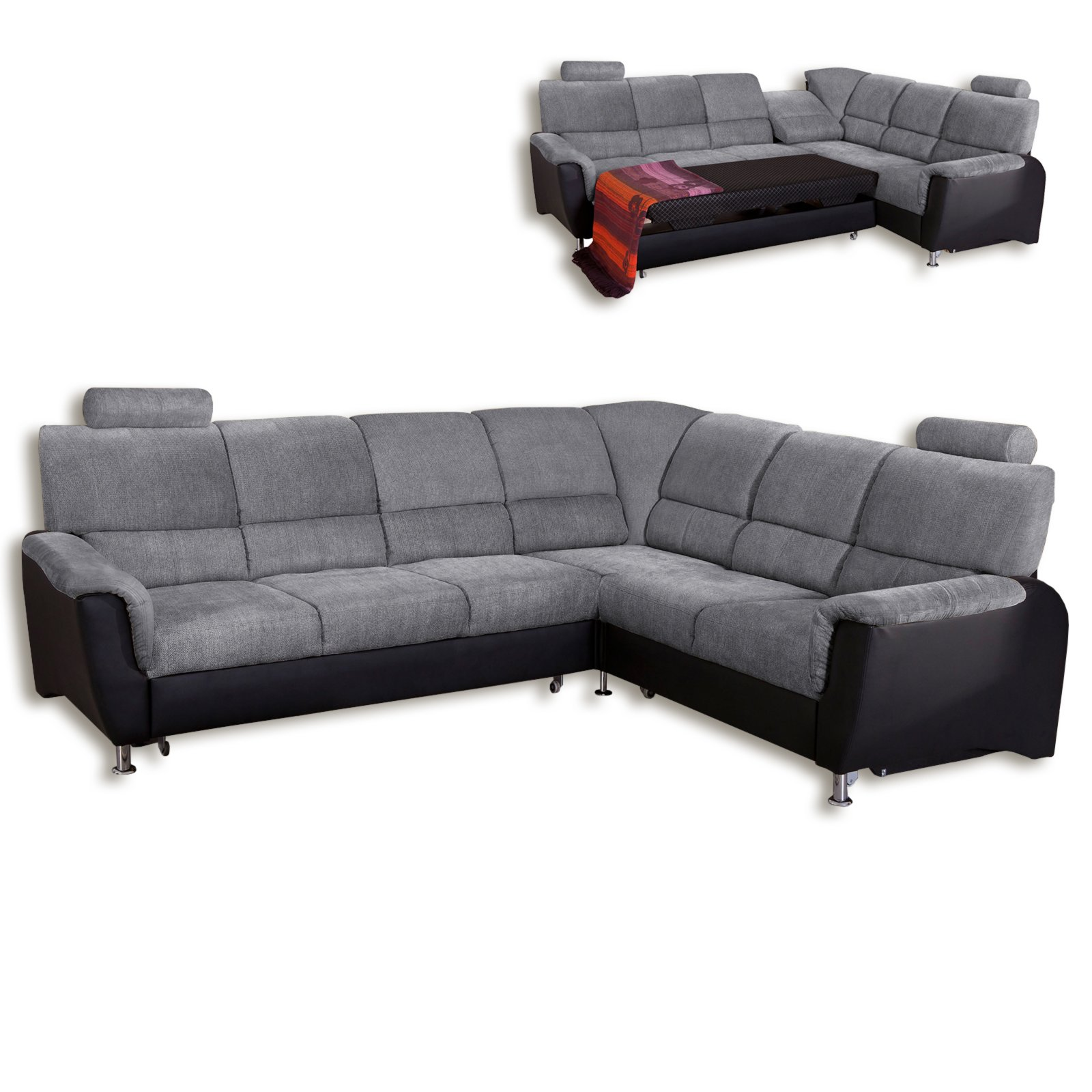 roller ecksofa grau schwarz 2 sitzer rechts ebay. Black Bedroom Furniture Sets. Home Design Ideas