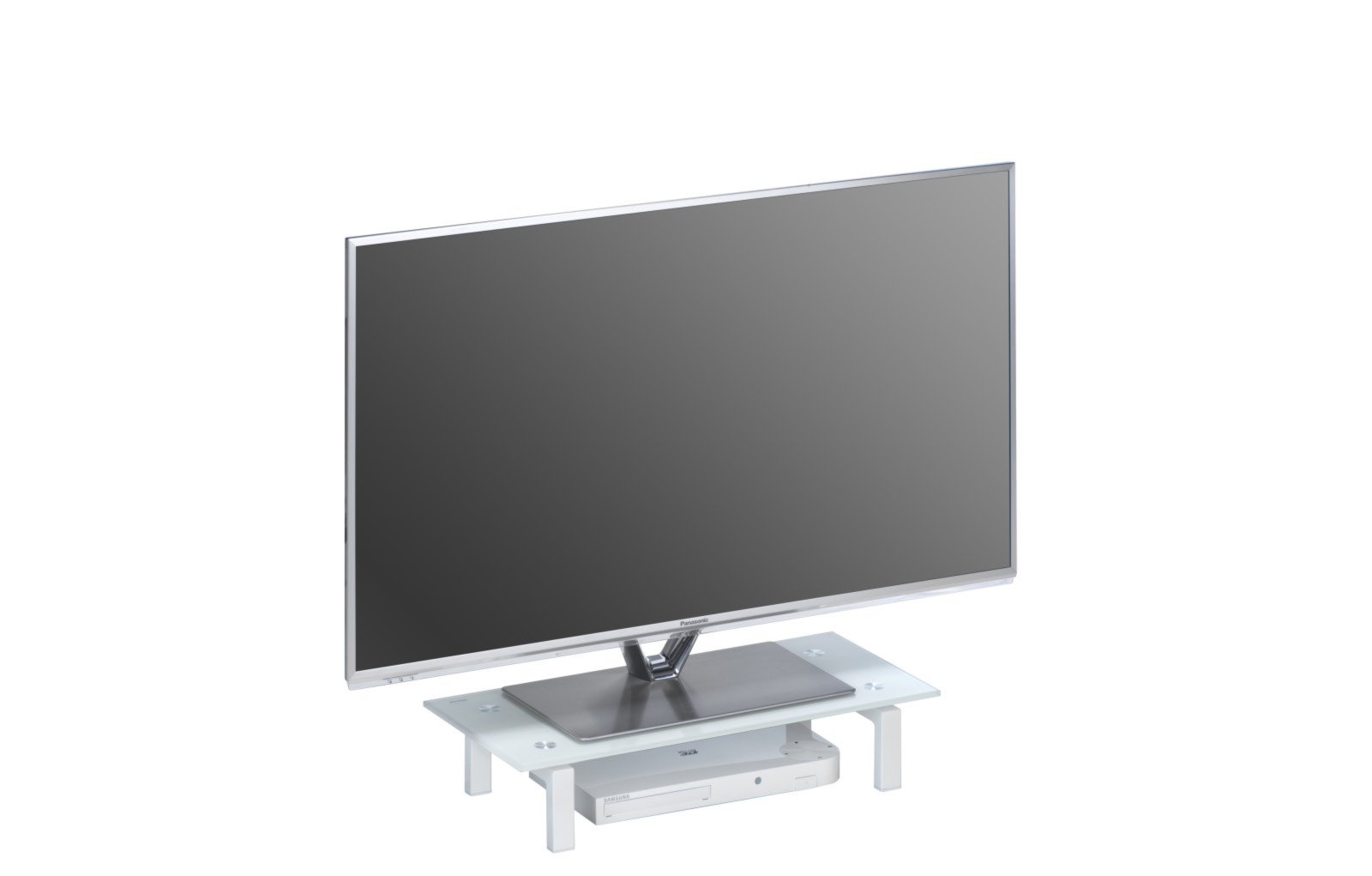 tv board wei metall mit glasplatte 60 cm breit. Black Bedroom Furniture Sets. Home Design Ideas