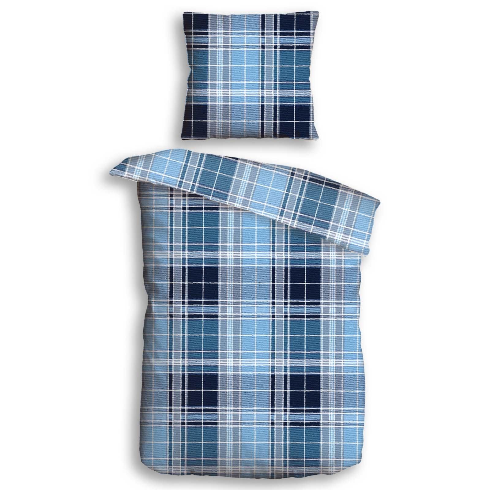 Flanell Bettwäsche Glasgow Blau 135x200 Cm Online Bei Roller