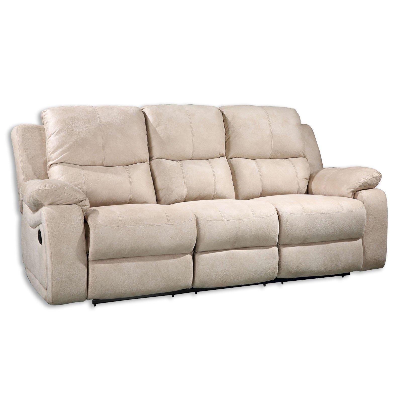 sofa 3 sitzer beige mit relaxfunktion 207 cm breit. Black Bedroom Furniture Sets. Home Design Ideas
