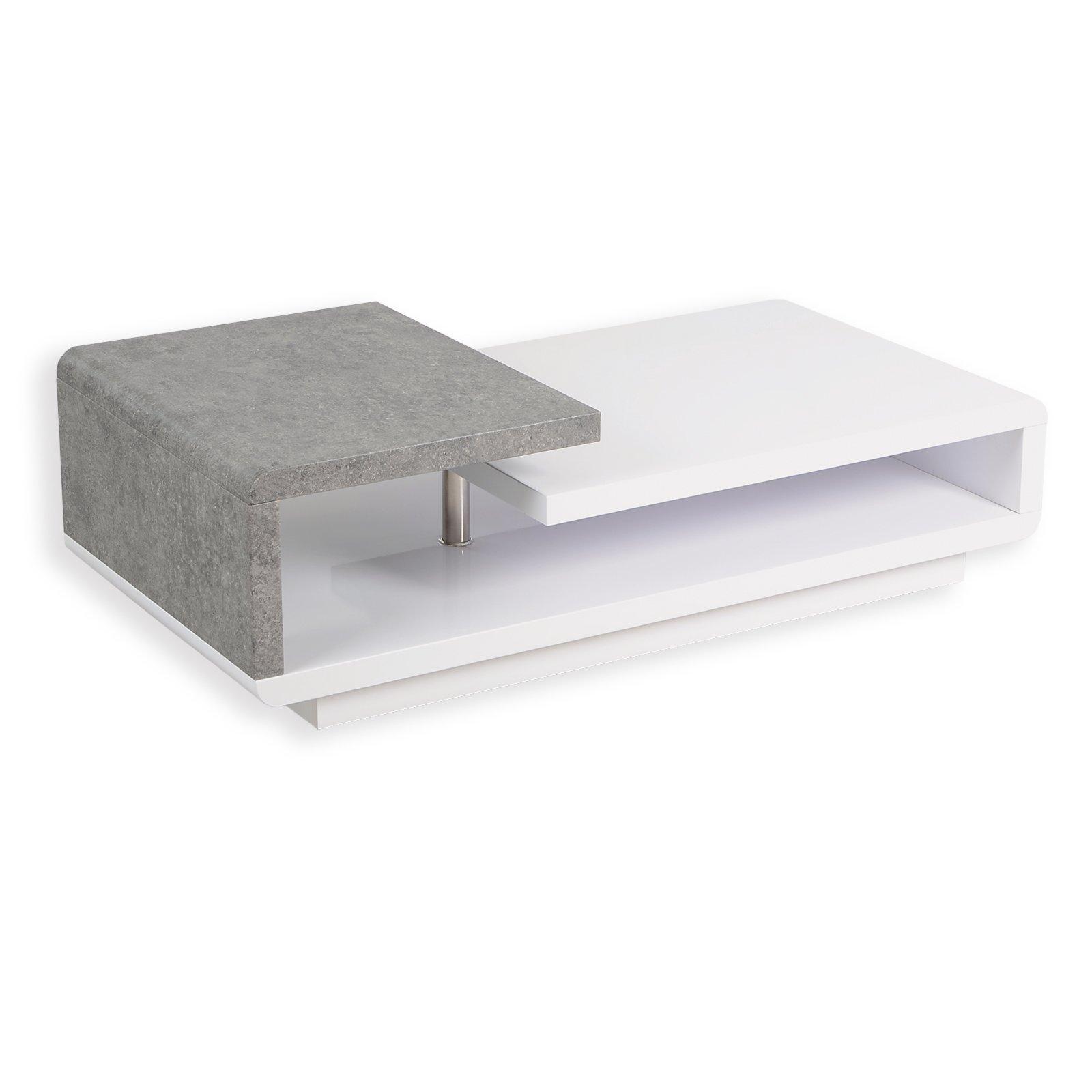couchtisch nala wei hochglanz betonoptik 120 cm couchtische wohnzimmer wohnbereiche. Black Bedroom Furniture Sets. Home Design Ideas