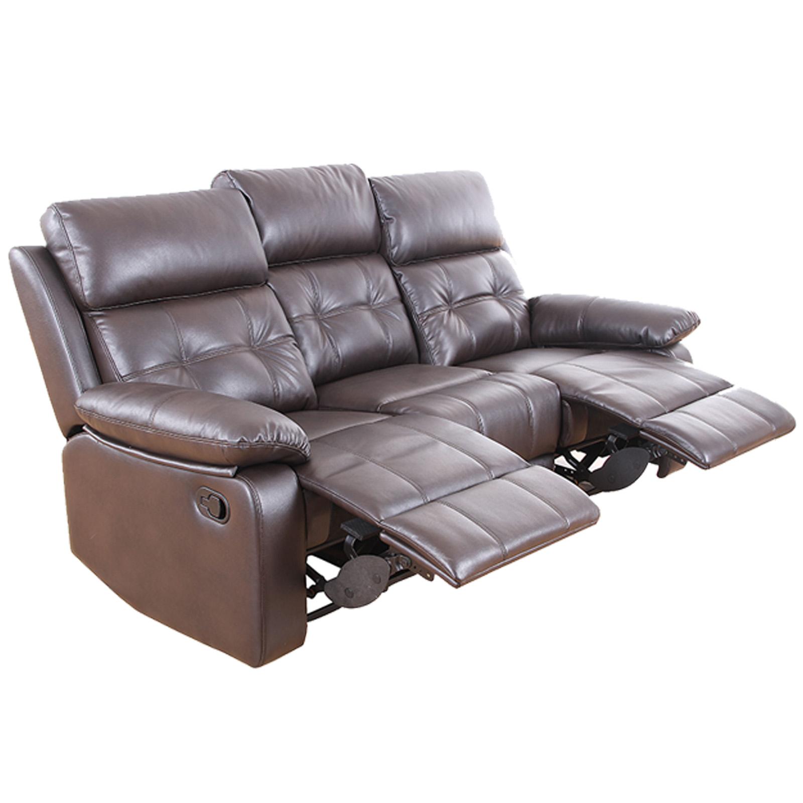 3 Sitzer Sofa dunkelbraun Kunstleder Relaxfunktion