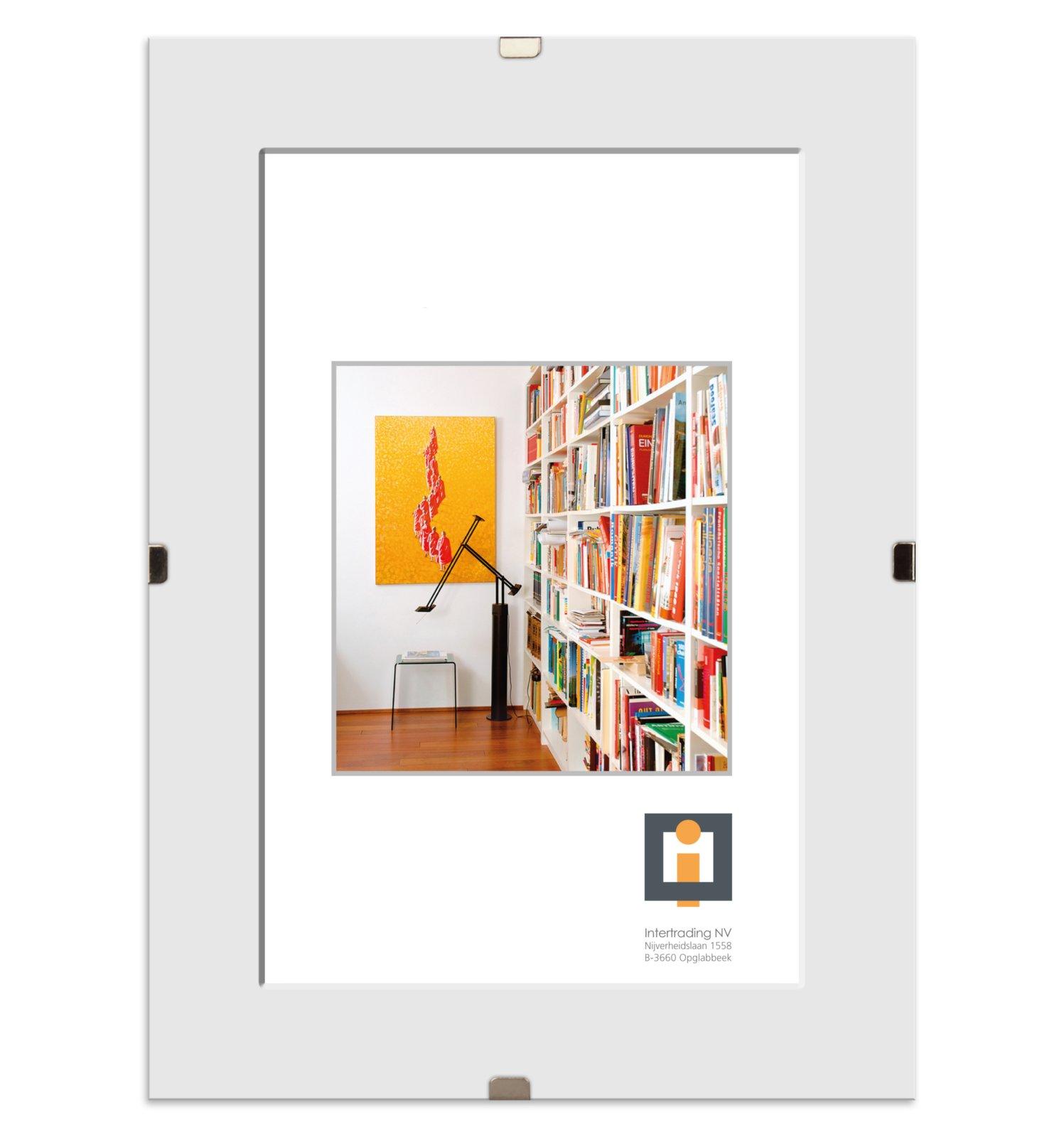 Bildhalter clip wei glas rahmenlos 13x18 cm for Bilderrahmen wohnzimmer