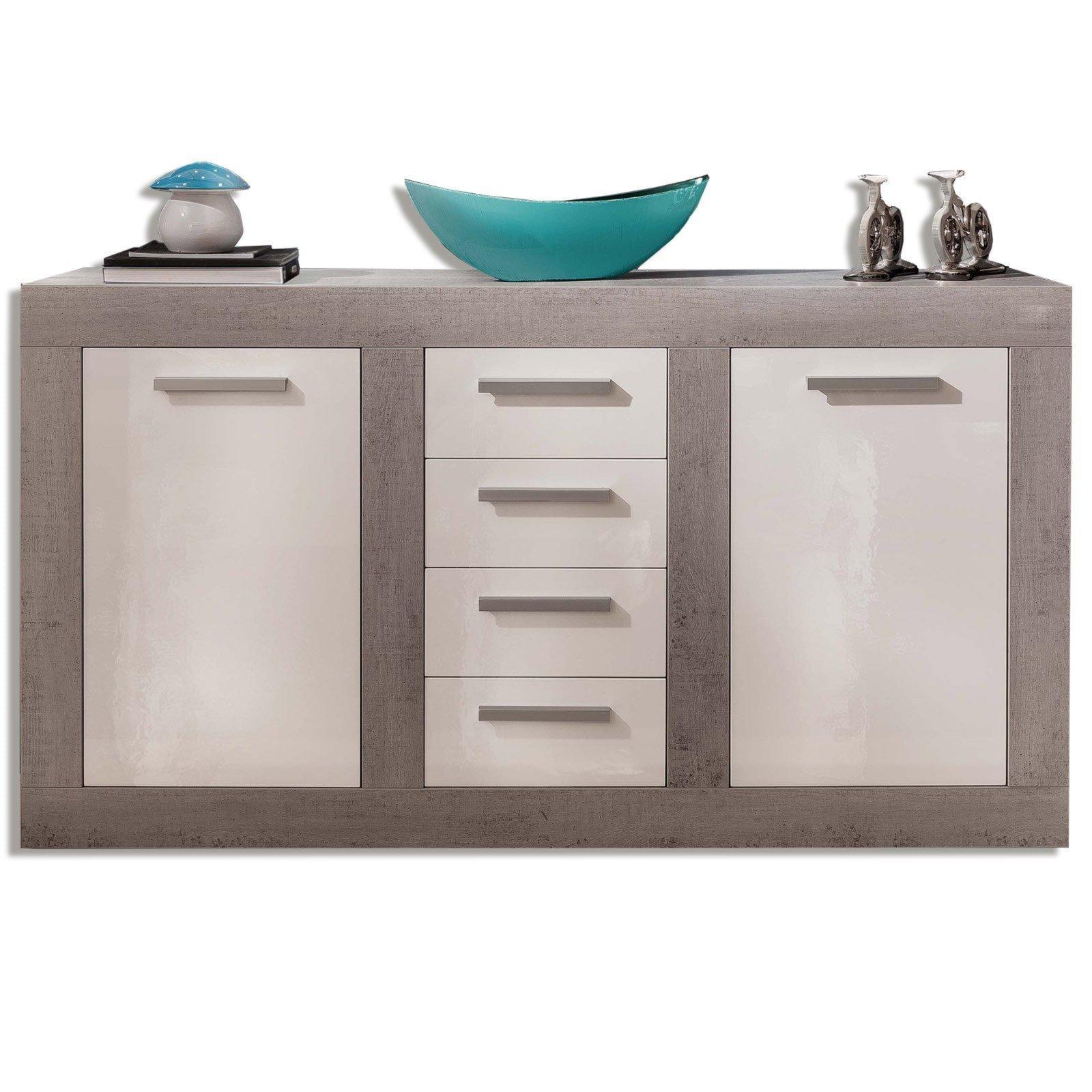 sideboard pure wei hochglanz beton 170x95 cm. Black Bedroom Furniture Sets. Home Design Ideas
