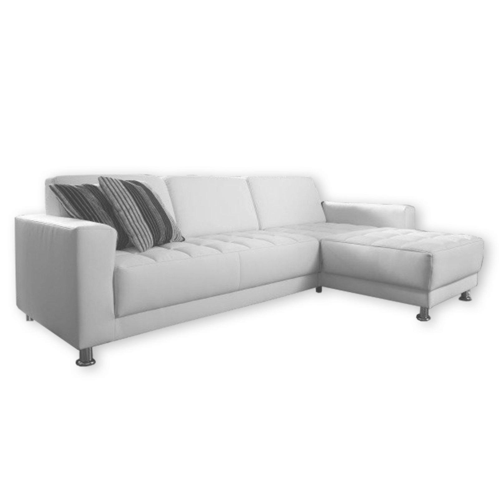 polsterecke wei kunstleder recamiere rechts ecksofas l form sofas couches m bel. Black Bedroom Furniture Sets. Home Design Ideas
