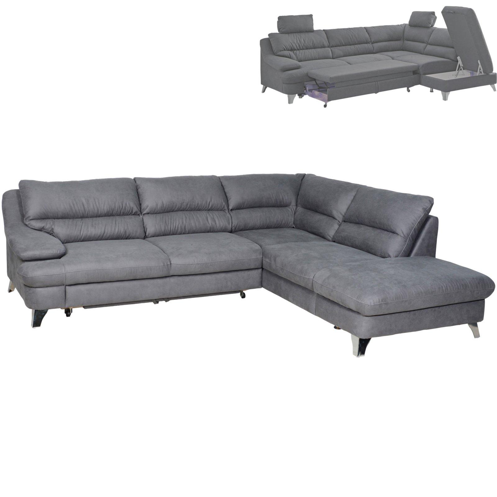 ecksofa grau mit liegefunktion und staukasten. Black Bedroom Furniture Sets. Home Design Ideas