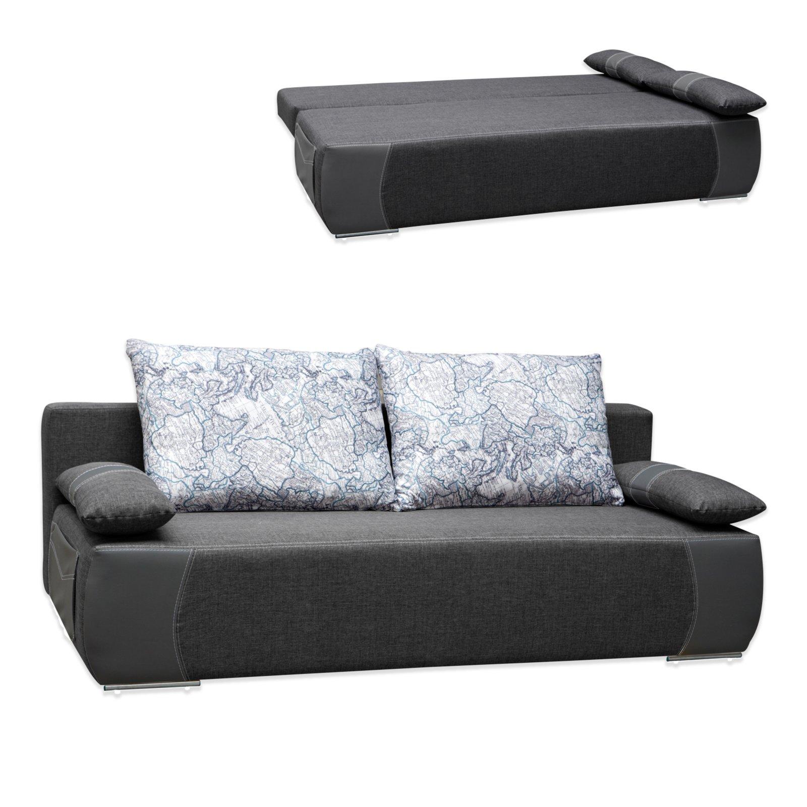 schlafsofa bonellfederkern grau mit staukasten. Black Bedroom Furniture Sets. Home Design Ideas