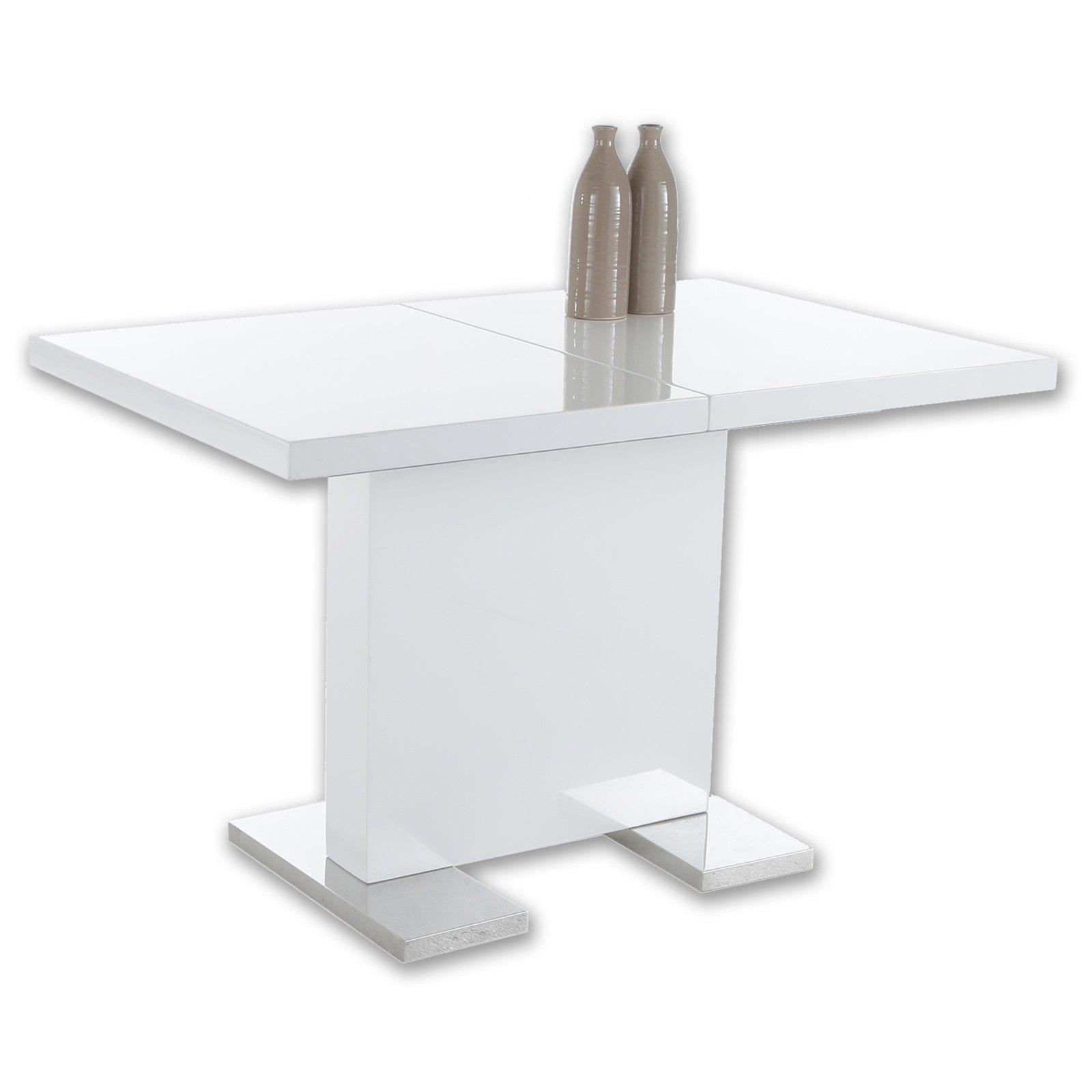 Tisch Weiß Hochglanz Ausziehbar 120x80 Cm