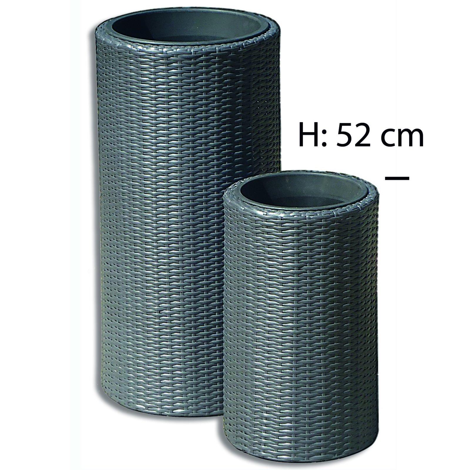 pflanzk bel grau rattan optik h he 52 cm blument pfe pflanzgef e gartenm bel. Black Bedroom Furniture Sets. Home Design Ideas