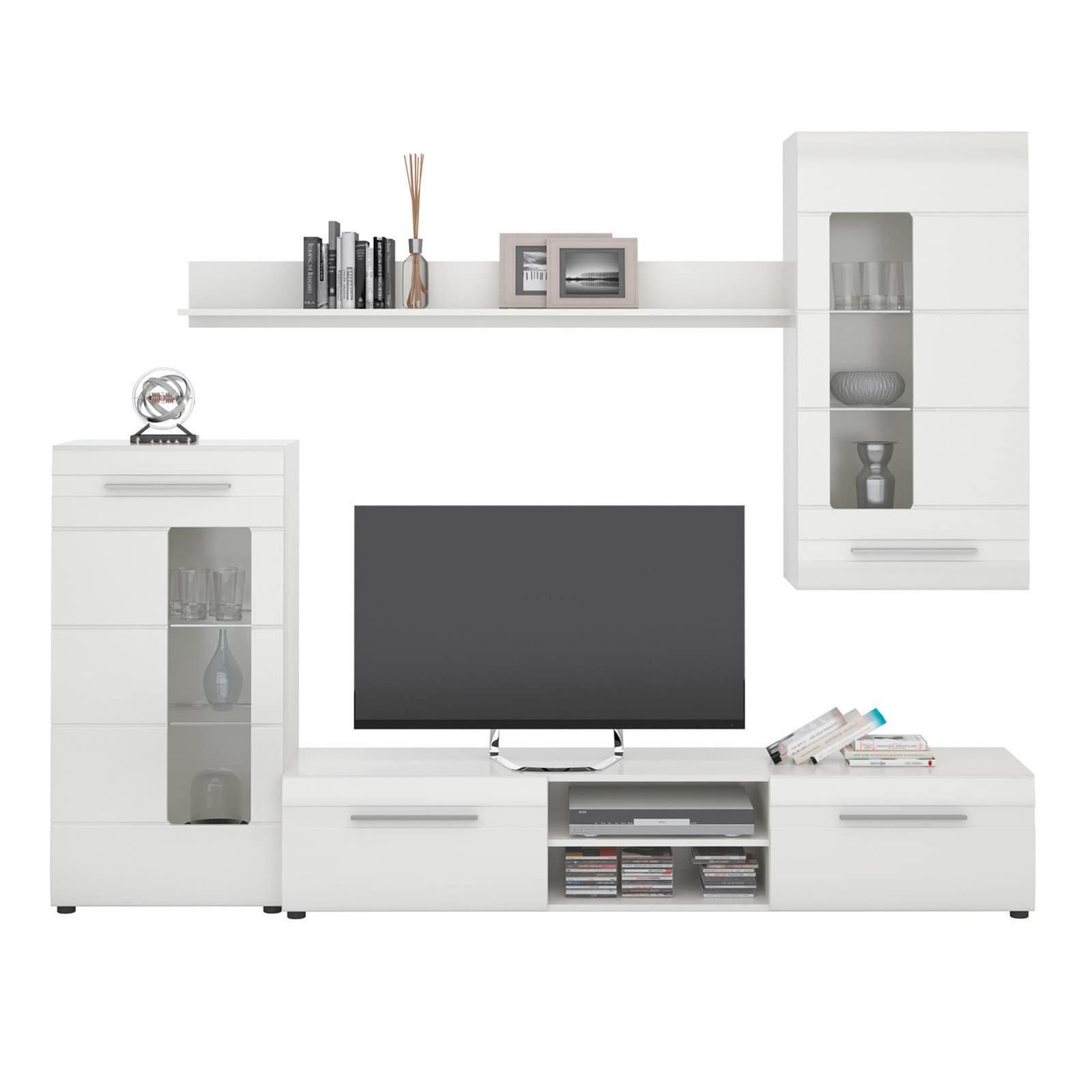Wohnwand - weiß Hochglanz - 5 cm breit