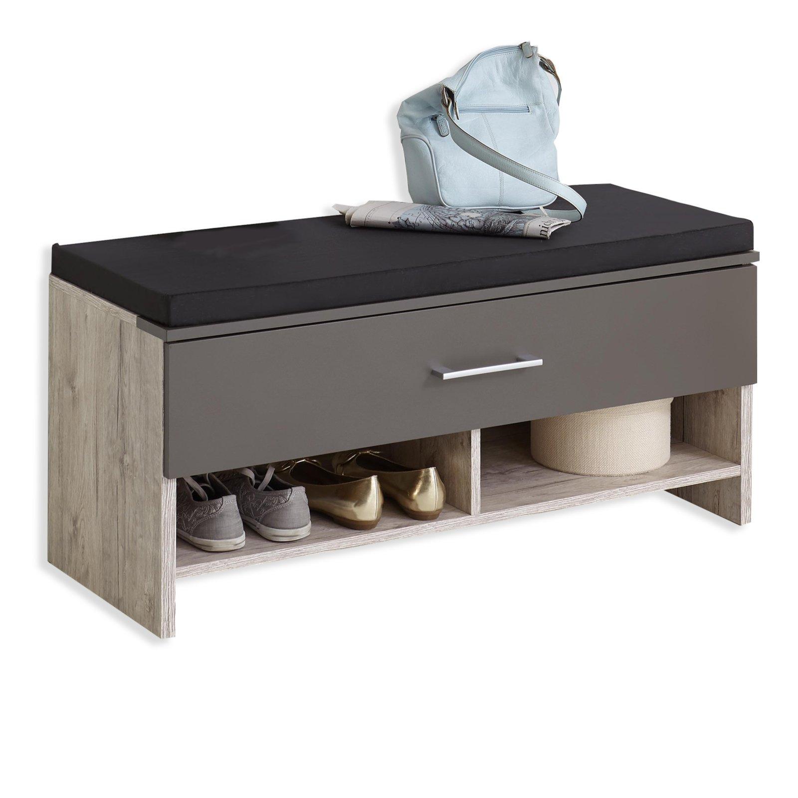 schuhbank alan sandeiche lava 100 cm nachbildung ebay. Black Bedroom Furniture Sets. Home Design Ideas