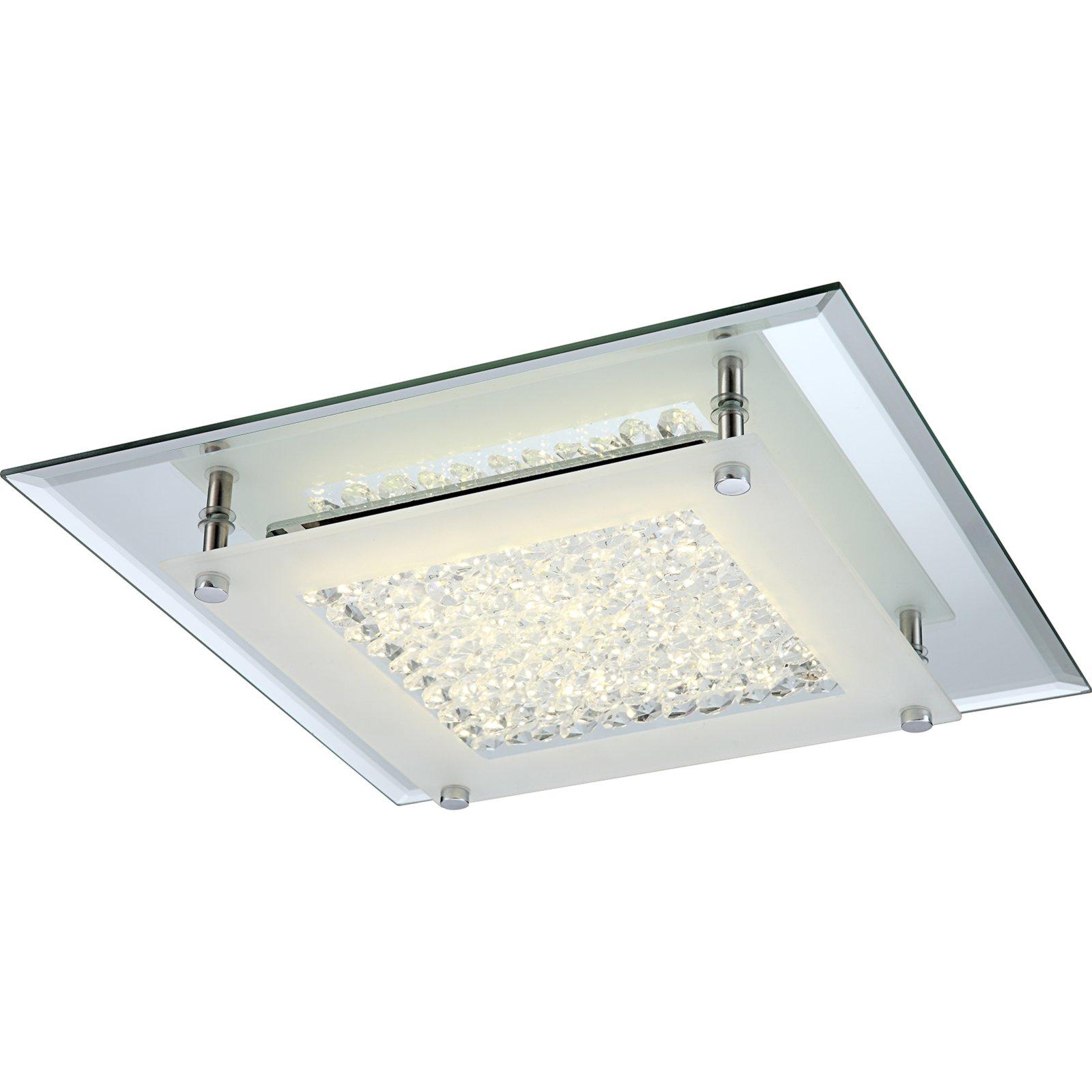 Led deckenleuchte chrom glaskristalle led for Led lampen deckenleuchten
