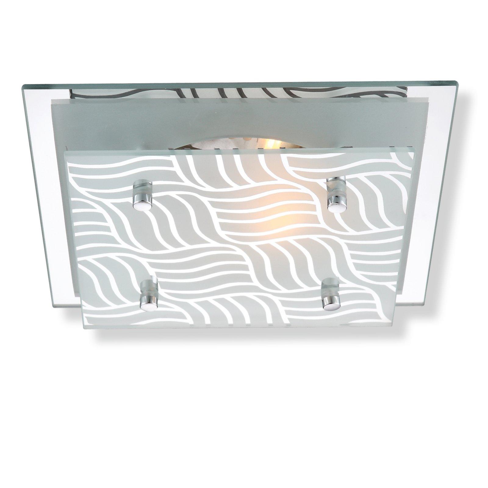 Deckenleuchte metall verchromt glas deckenlampen for Deckenleuchte glas