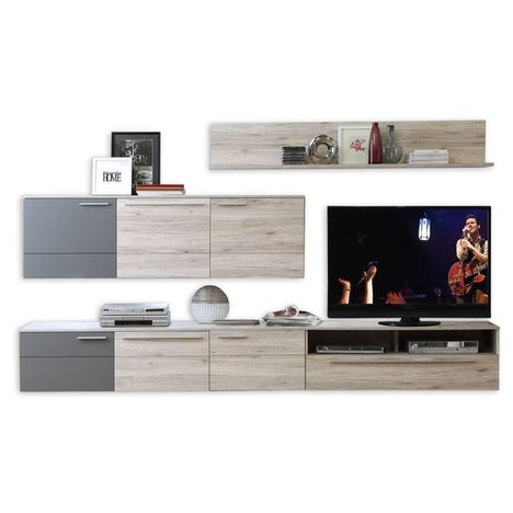 wohnwand delite sandeiche grau matt 300 cm breit. Black Bedroom Furniture Sets. Home Design Ideas