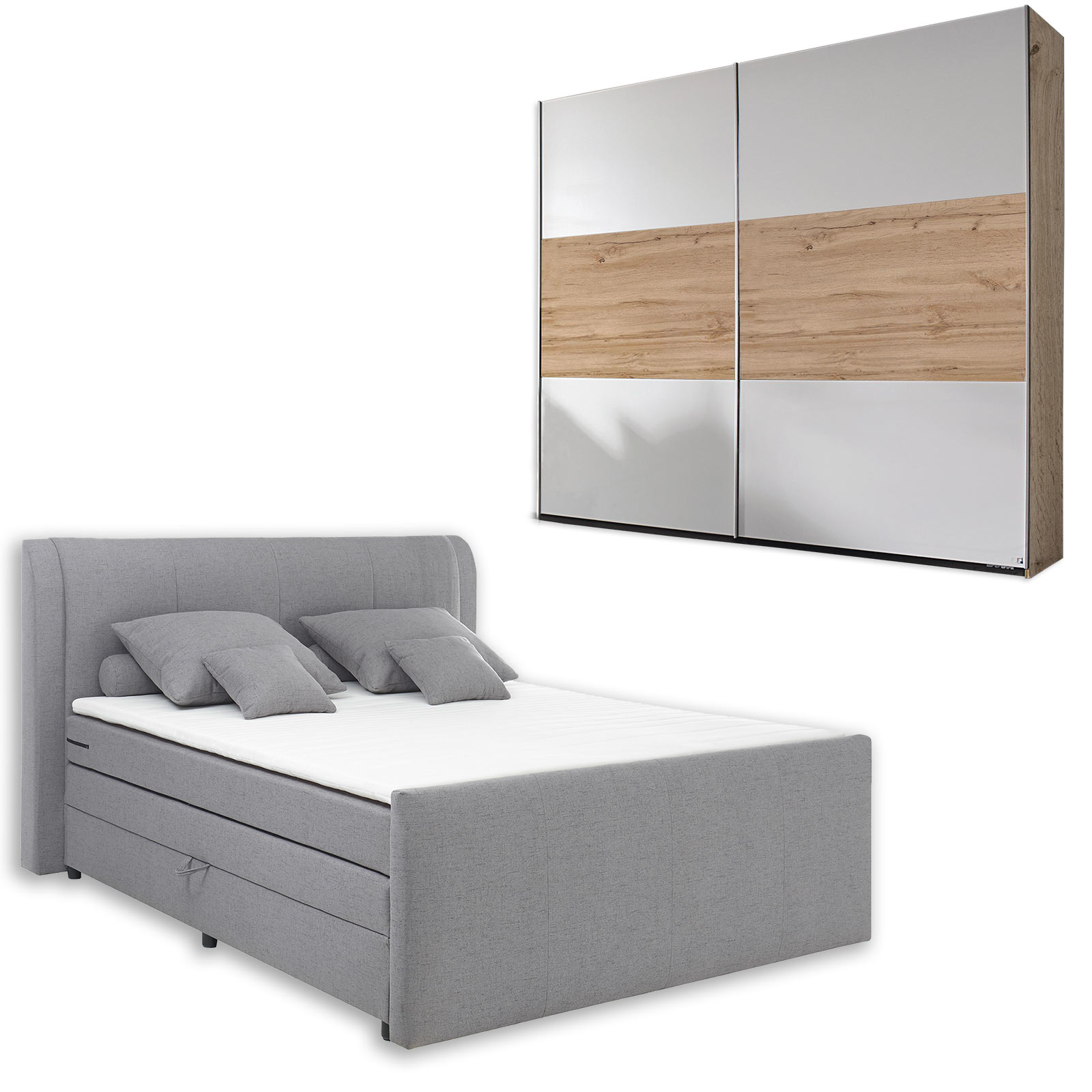 15-teiliges Schlafzimmer-Set alpinweiß-Eiche-Wotan - 15x1500 cm