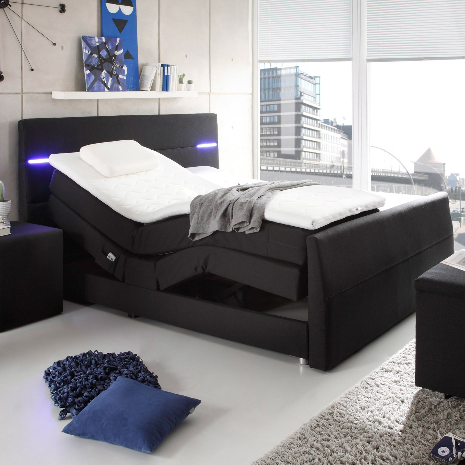 boxspringbett nebraska schwarz 180x200 cm ebay. Black Bedroom Furniture Sets. Home Design Ideas