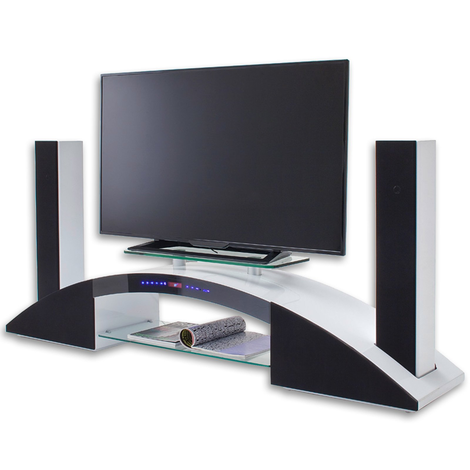 tv rack arc 2 wei hochglanz mit soundsystem tv racks tv hifi m bel m bel roller. Black Bedroom Furniture Sets. Home Design Ideas