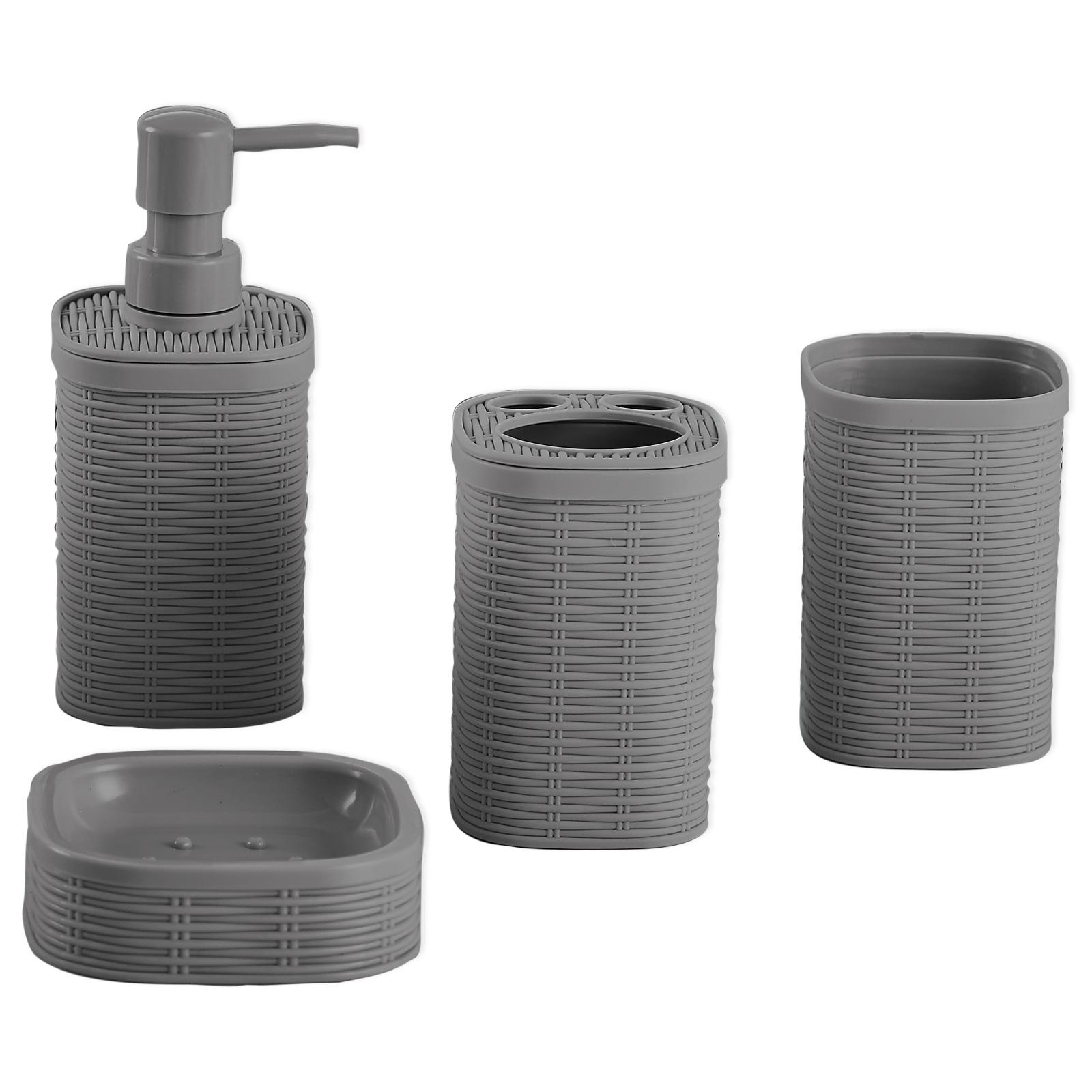 Badezimmer Set Grau Kunststoff 4 Teilig Online Bei Roller Kaufen