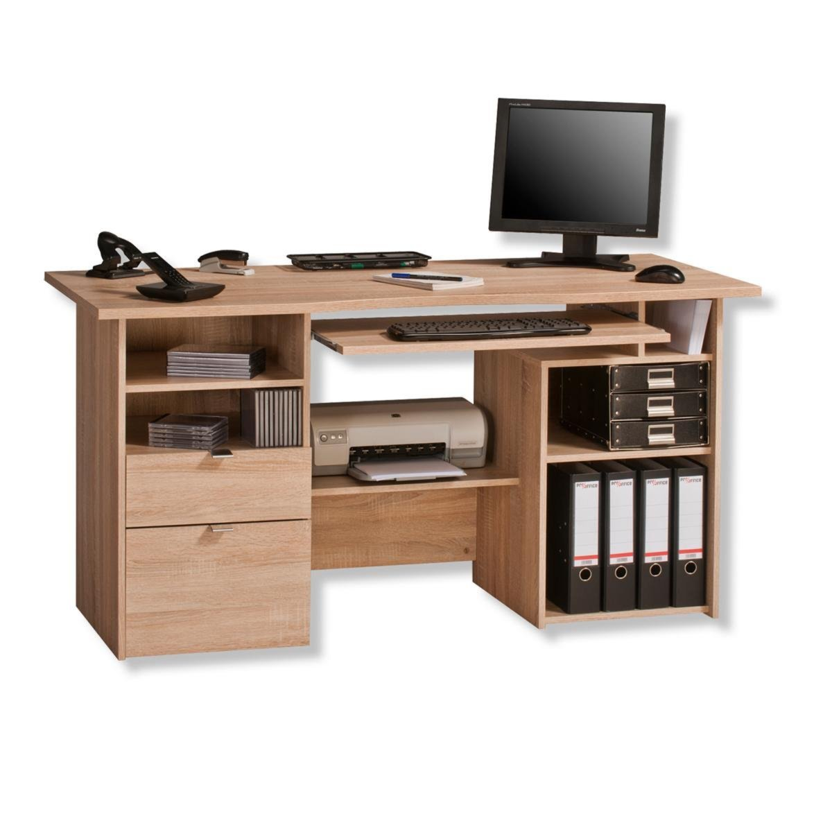 computertisch sonoma eiche 150x65 cm schreibtische m bel m belhaus roller. Black Bedroom Furniture Sets. Home Design Ideas