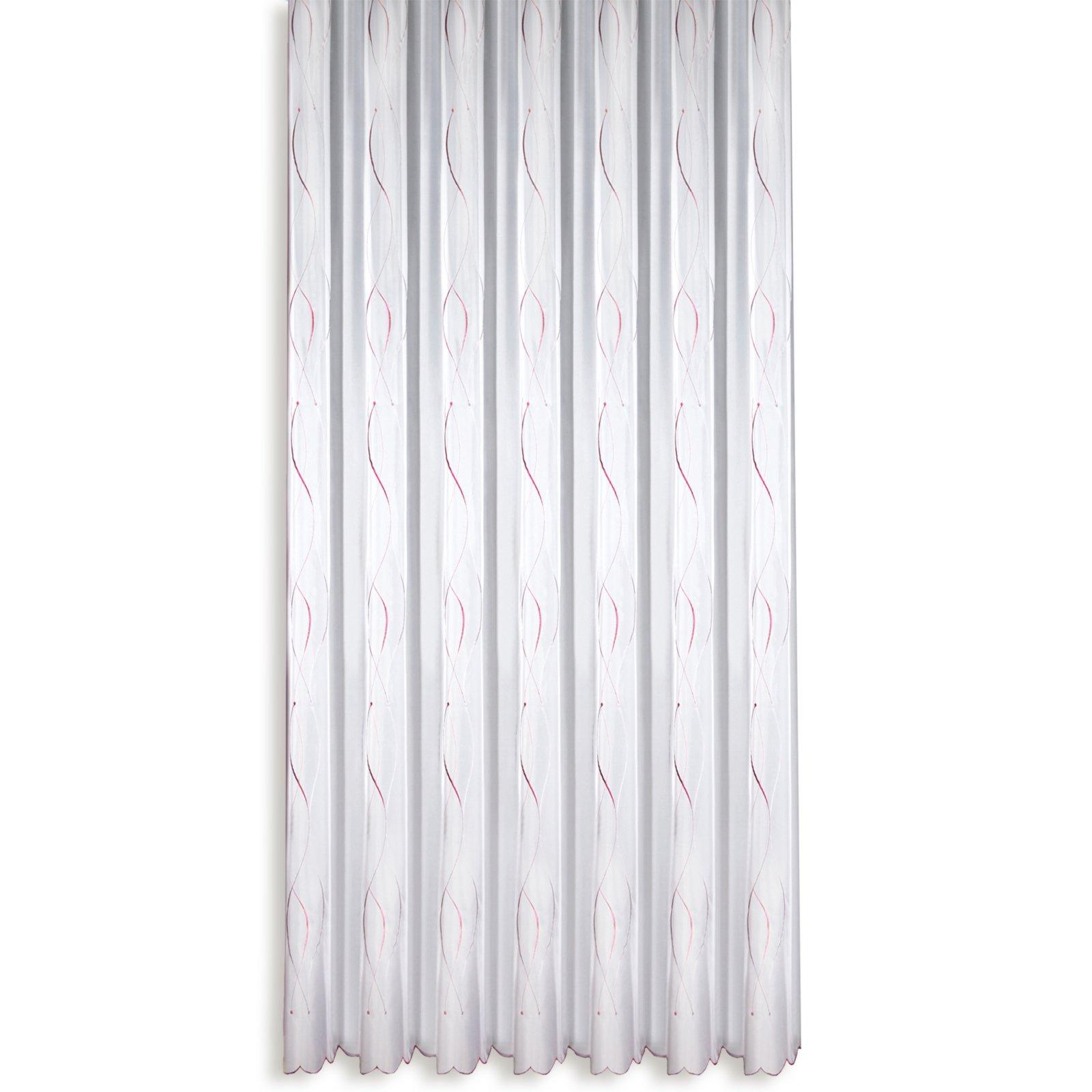 Gardine   weiß fuchsia   Stick Store   245x300 cm | Transparente