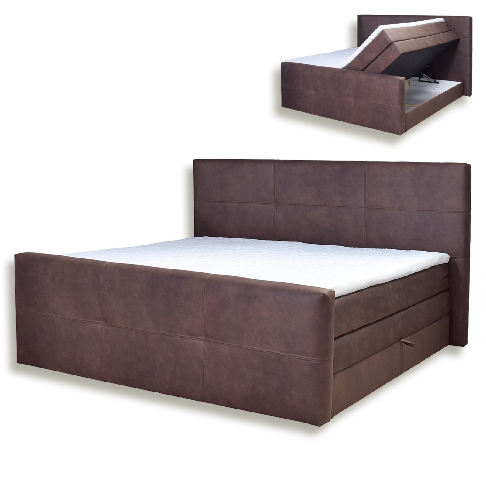 boxspringbett havana dunkelbraun taschenfederkern h3 180x200 cm boxspringbetten. Black Bedroom Furniture Sets. Home Design Ideas