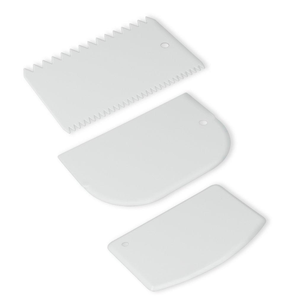 Teigspachtel 3er Set - weiß - Kunststoff