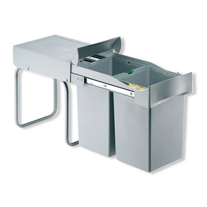 Einbau-Mülleimer - Alugrau - 2X14 Liter | Mülleimer | Haushalts