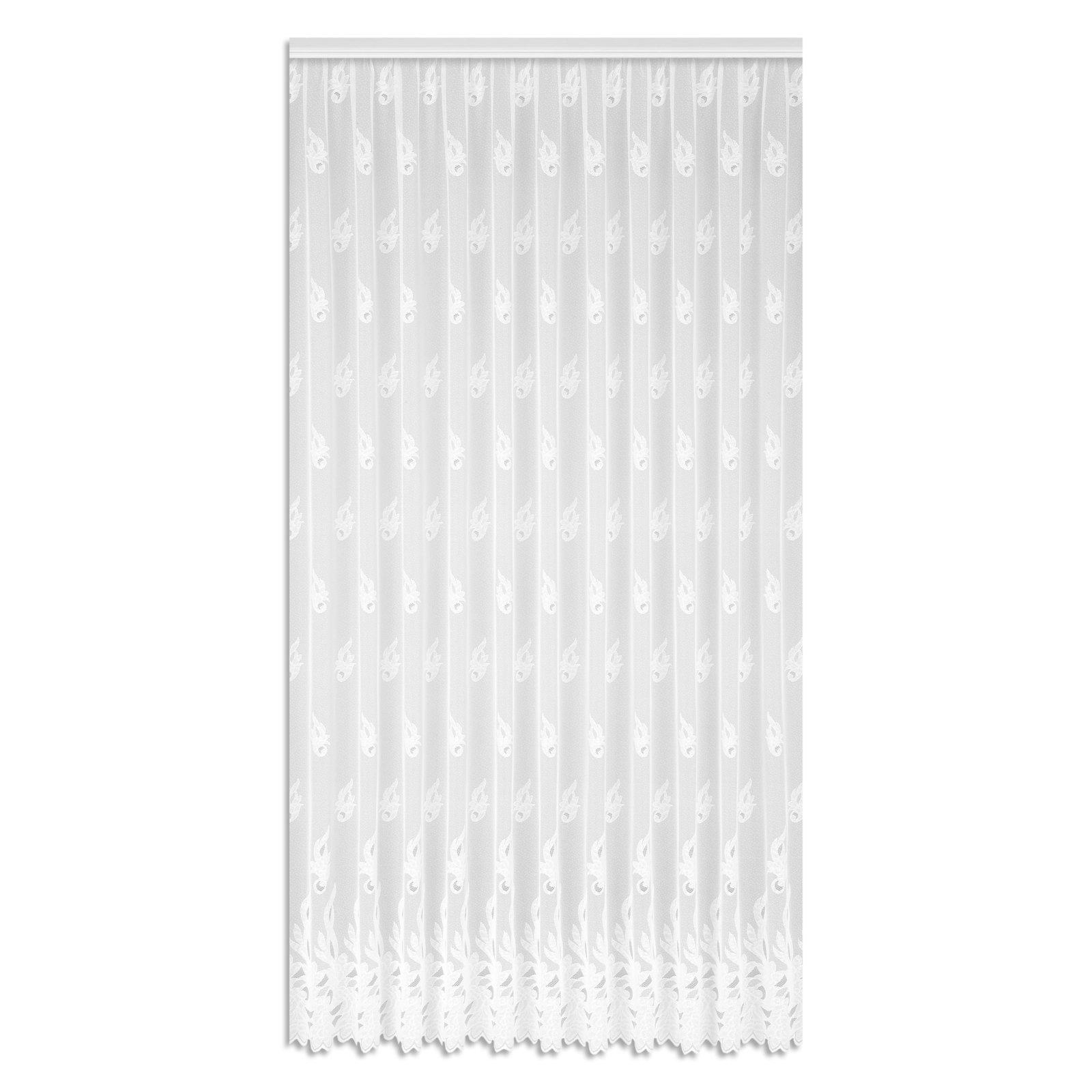 Gardine BLÜTEN - weiß - 145x450 cm
