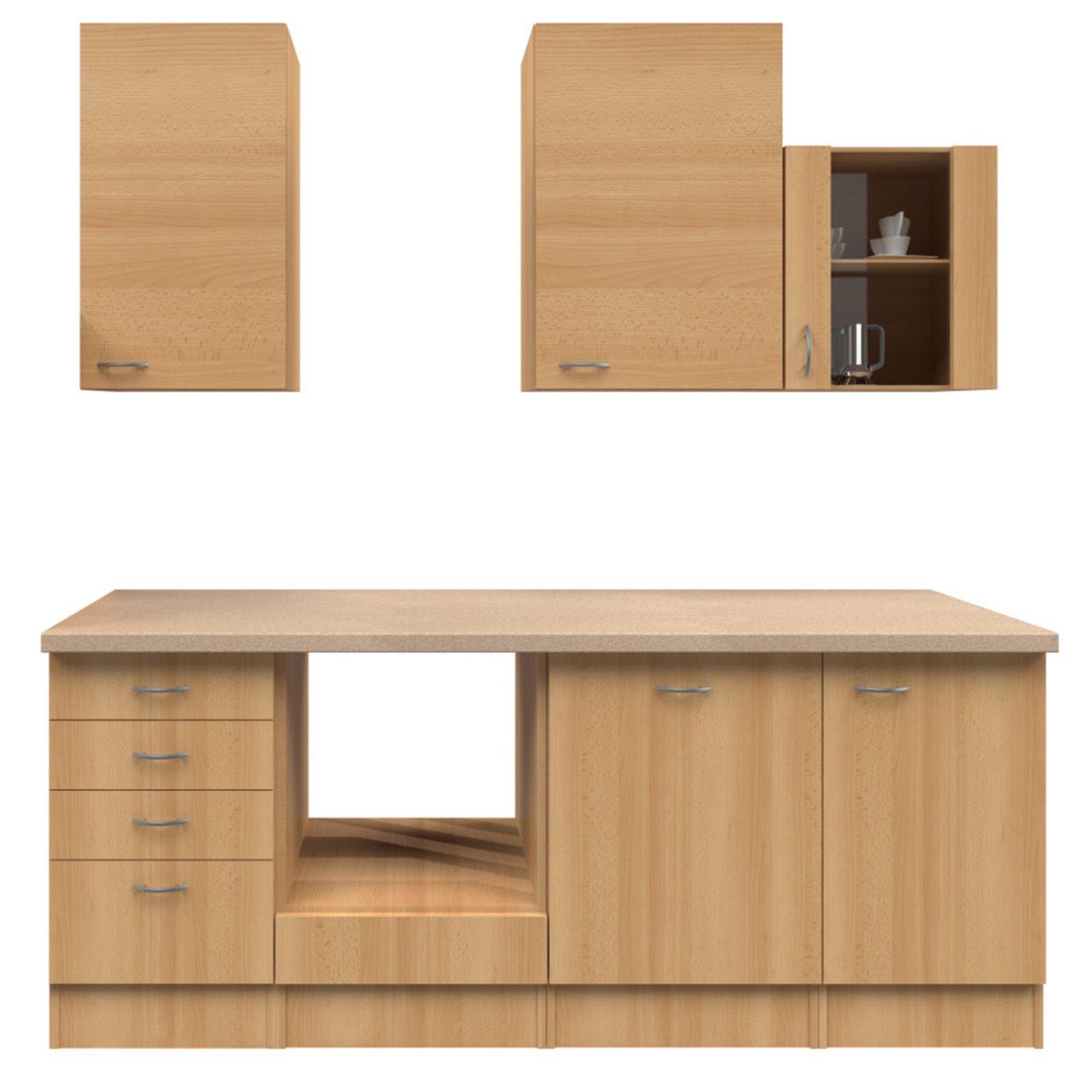 k chenblock nano buche 220 cm k chenzeilen ohne e ger te k chenzeilen m bel roller. Black Bedroom Furniture Sets. Home Design Ideas