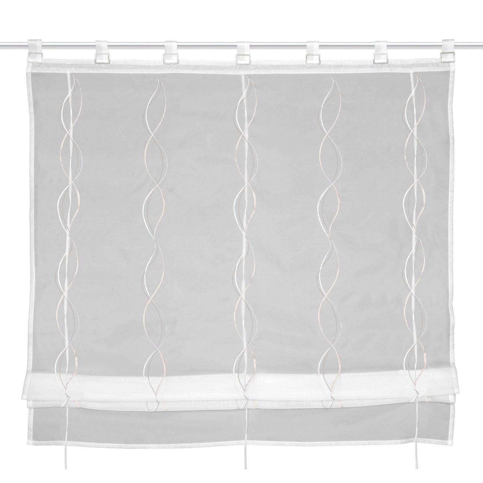 raffrollo wei beige 100x140 cm transparente raffrollos raffrollos rollos jalousien. Black Bedroom Furniture Sets. Home Design Ideas