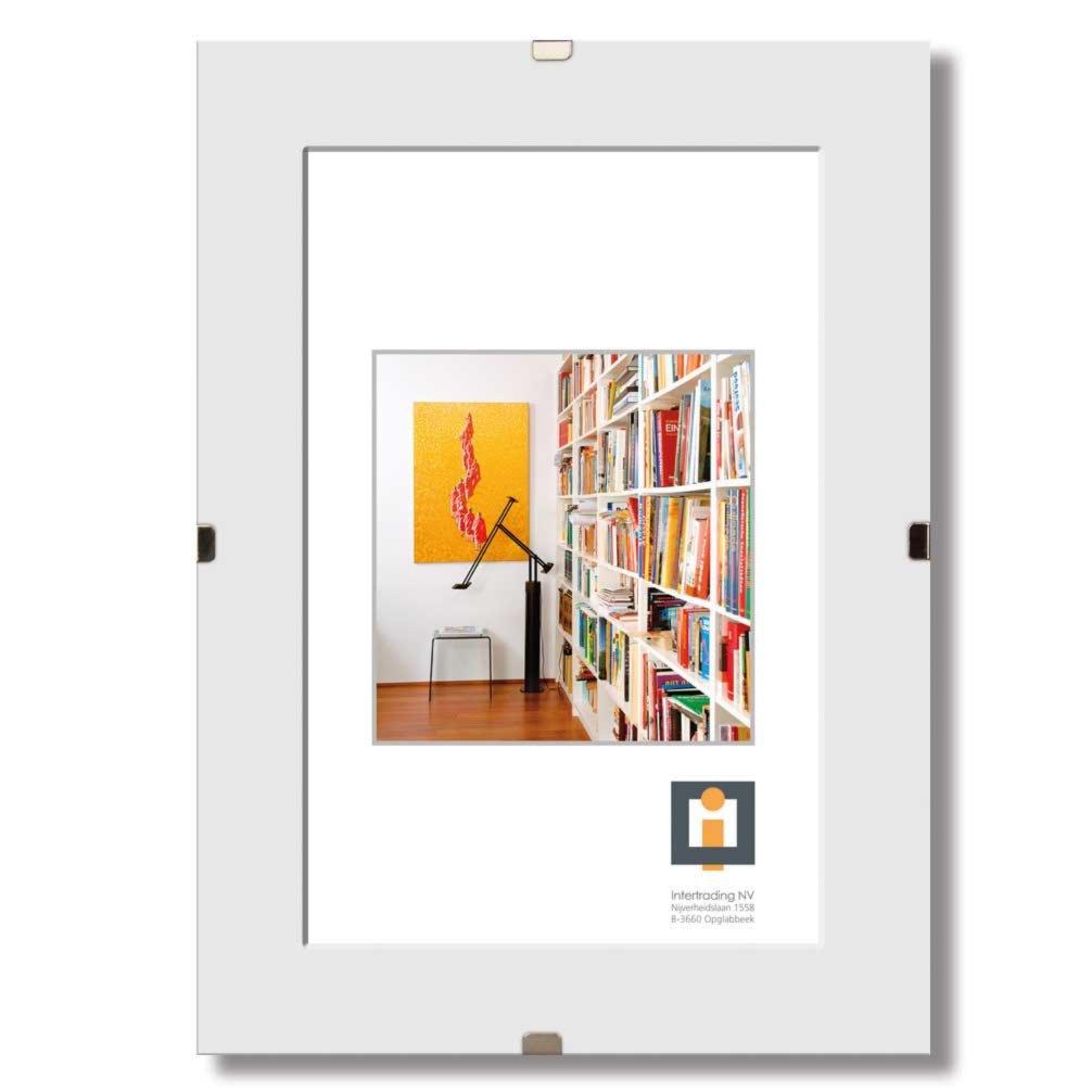 bildhalter clip wei glas rahmenlos 60x80 cm. Black Bedroom Furniture Sets. Home Design Ideas