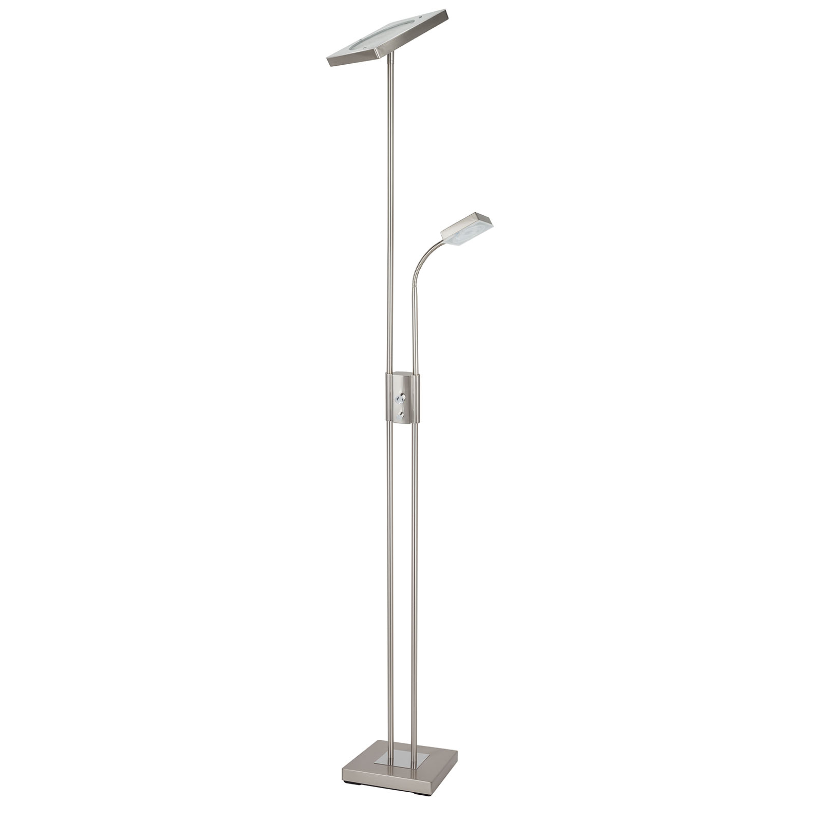 LAMPURA LED-Deckenfluter - Nickel matt - dimmbar - 180 cm hoch