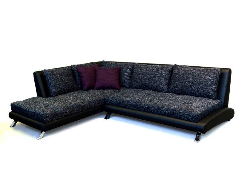 polsterecke schwarz grau ottomane links ecksofas l form sofas couches m bel roller. Black Bedroom Furniture Sets. Home Design Ideas
