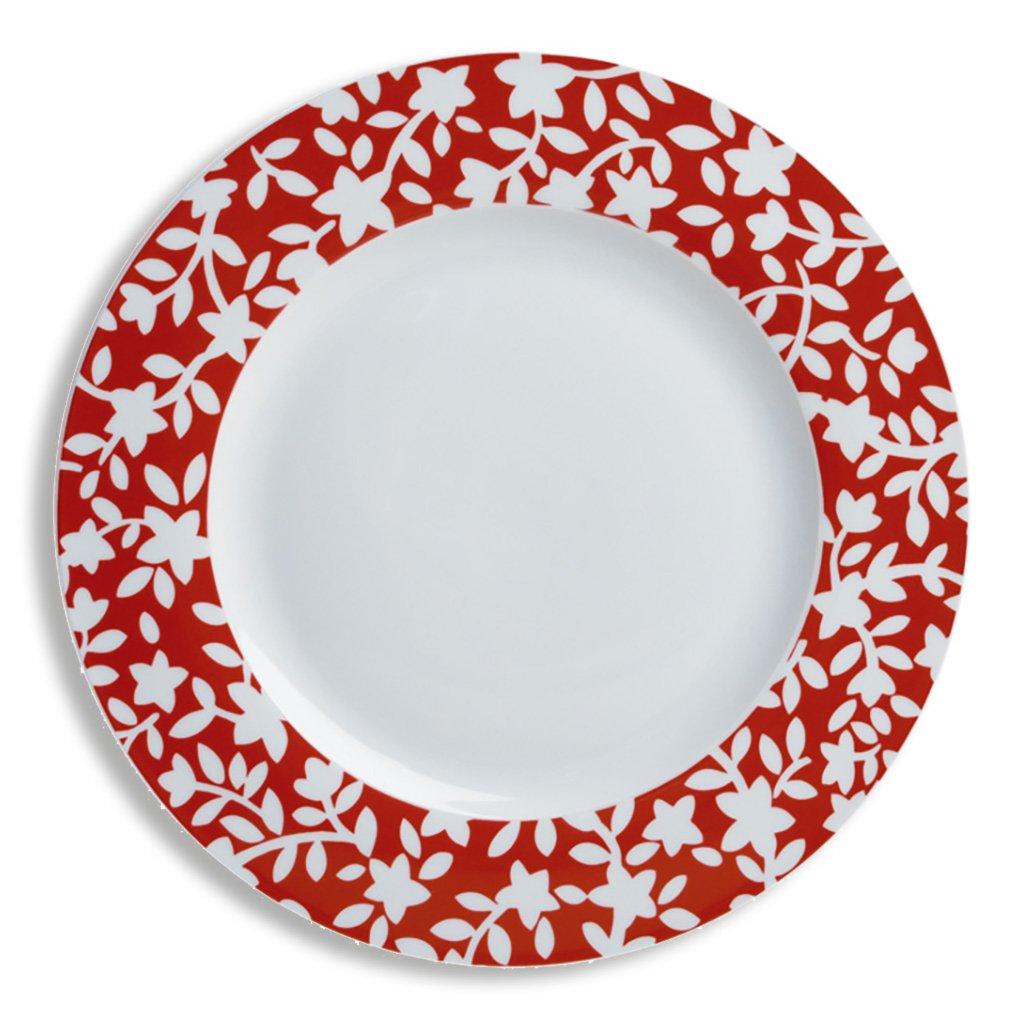 Dessertteller FIORE - rot-weiß - 20,5 cm