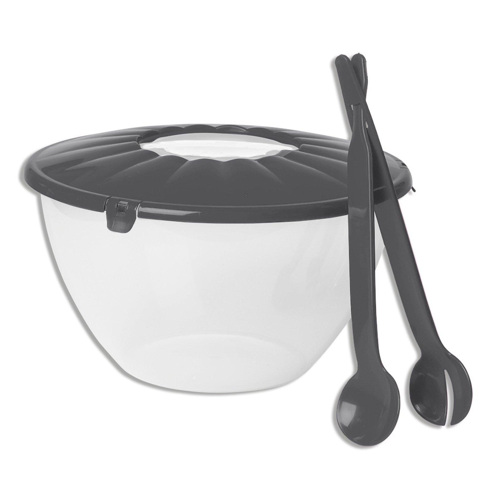 salatsch ssel grau kunststoff mit salatbesteck k chenhelfer haushalts k chenzubeh r. Black Bedroom Furniture Sets. Home Design Ideas