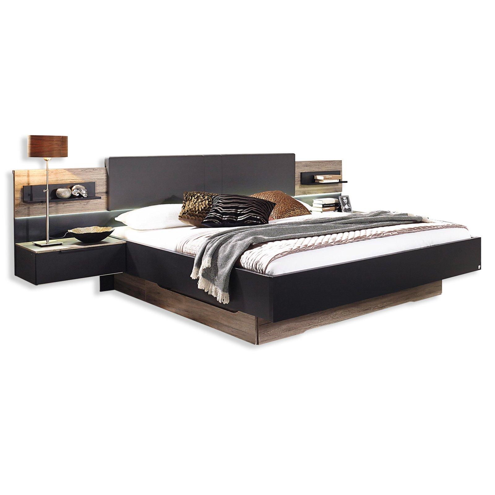 bettanlage tameo eiche sanremo schwarz 180x200 cm bettgestelle betten m bel roller. Black Bedroom Furniture Sets. Home Design Ideas