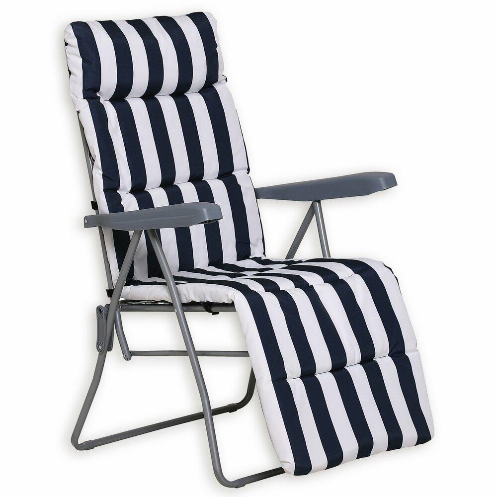 gartenstuhl fuerteventura blau wei mit kissen. Black Bedroom Furniture Sets. Home Design Ideas