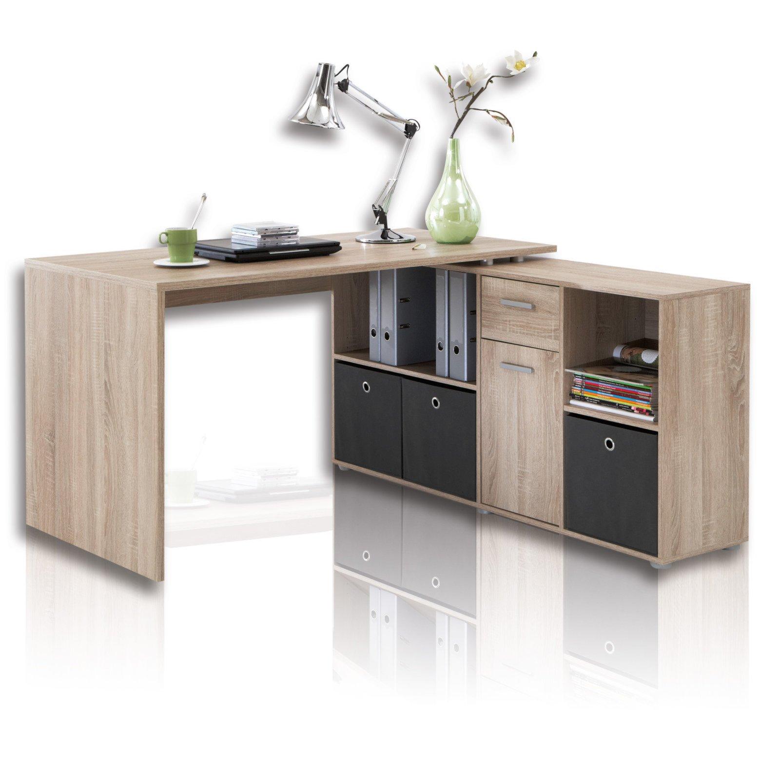 Schreibtisch Winkelkombination Sonoma Eiche Online Bei Roller
