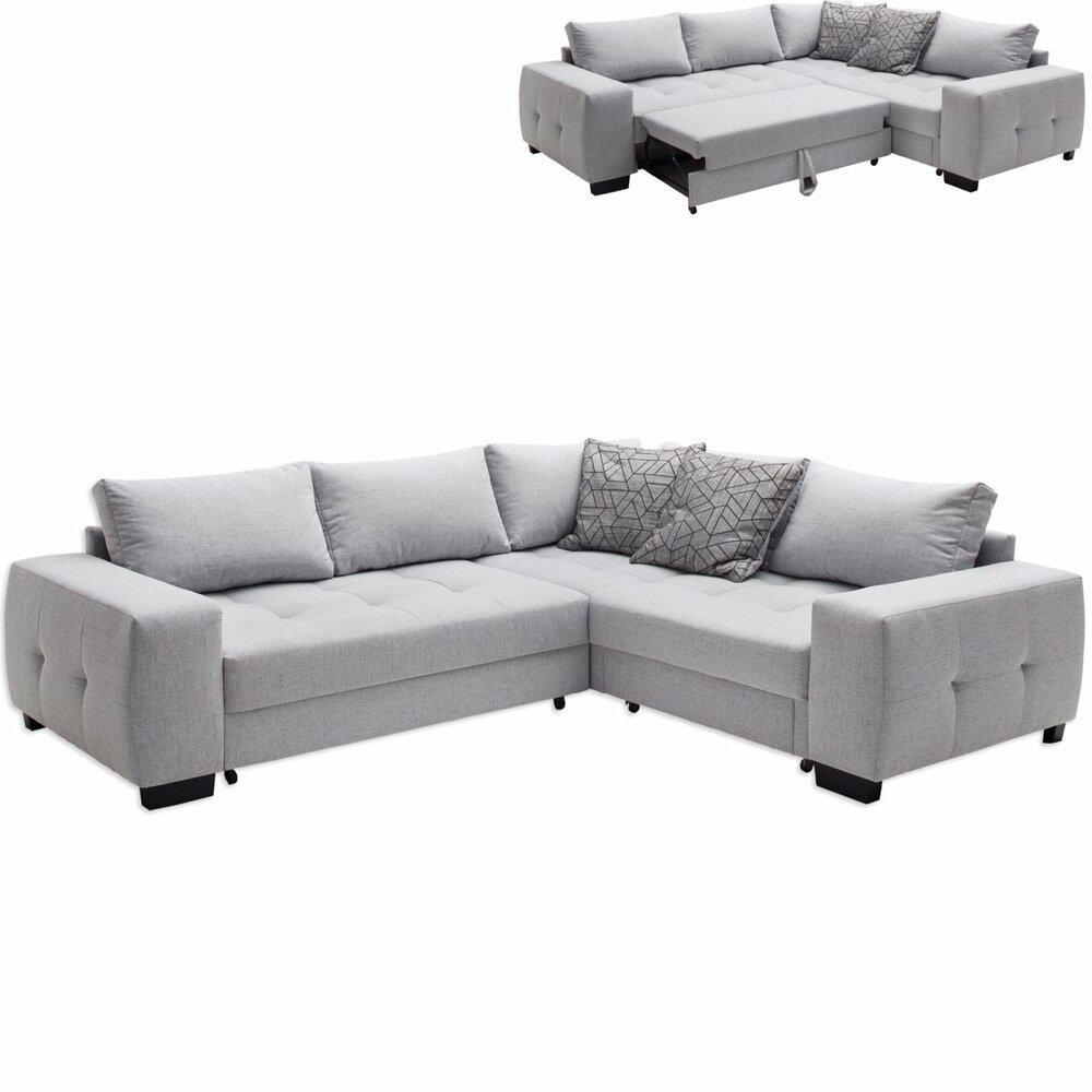 ecksofa silber mit liegefunktion und bettkasten ecksofas l form sofas couches m bel. Black Bedroom Furniture Sets. Home Design Ideas