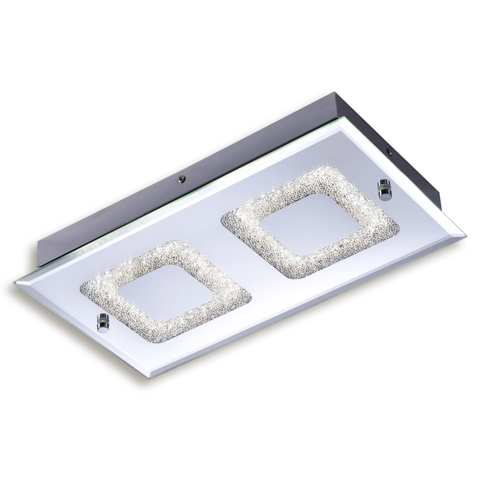 led deckenleuchte lisa chrom glas 36x20 cm led deckenleuchten deckenleuchten lampen. Black Bedroom Furniture Sets. Home Design Ideas